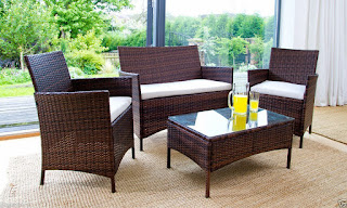 RATTAN GARDEN FURNITURE SET 4 PIECE CHAIRS SOFA TABLE OUTDOOR PATIO CONSERVATORY £98 CHEAPEST IN THE UK – PRICES SLASHED UNTIL 17TH OF JULY