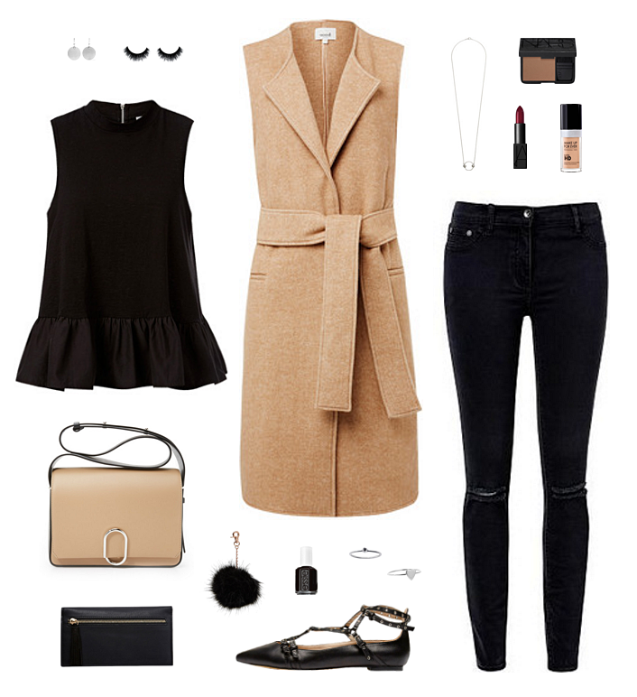 sleeveless camel coat jacket outfit style
