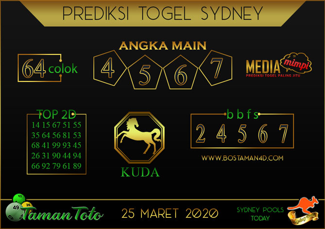 Prediksi Togel SYDNEY TAMAN TOTO 25 MARET 2020