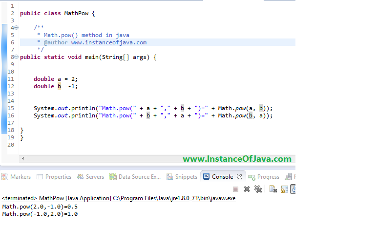 Find power using math.pow() in java - InstanceOfJava