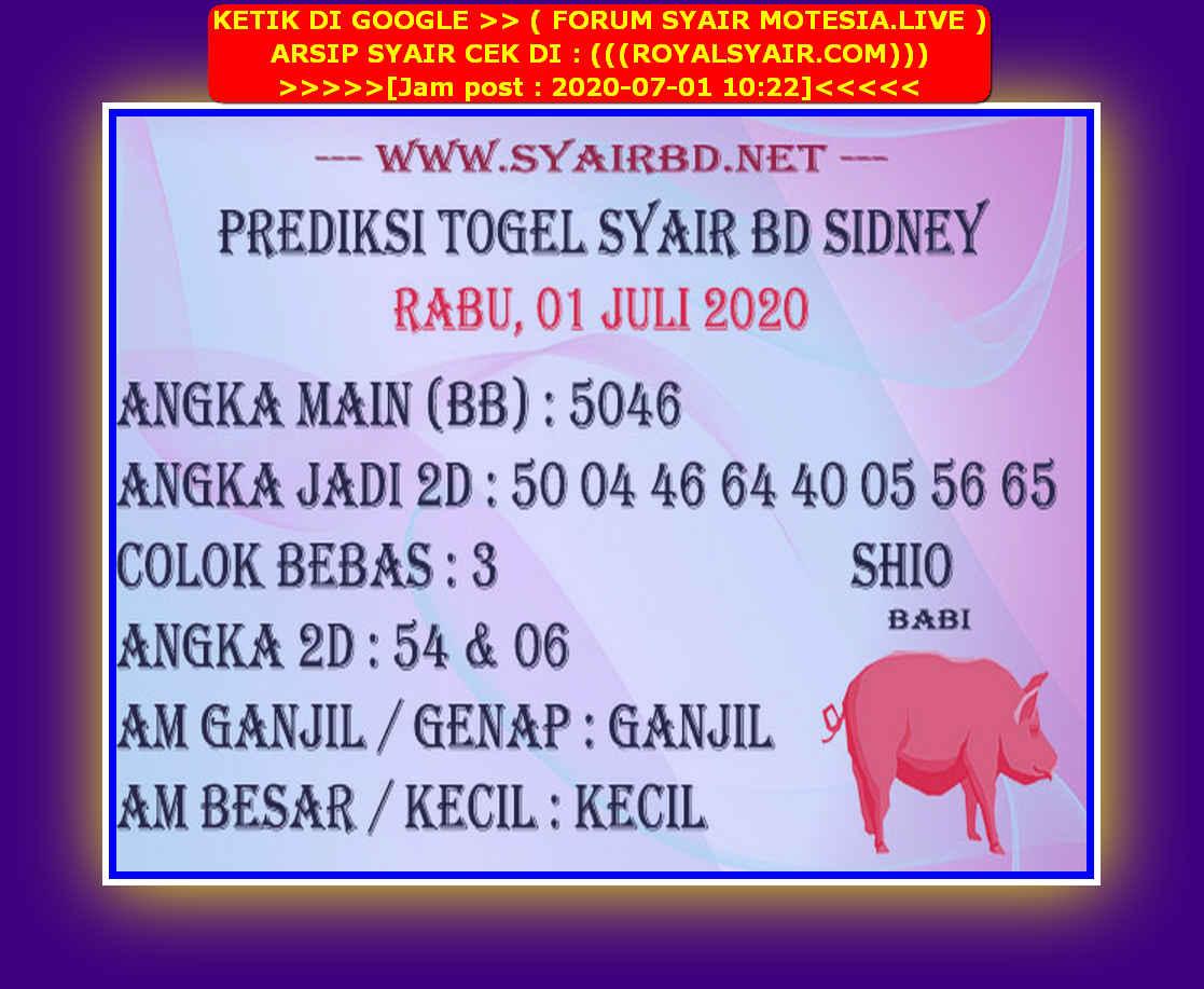 Kode syair Sydney Rabu 1 Juli 2020 107