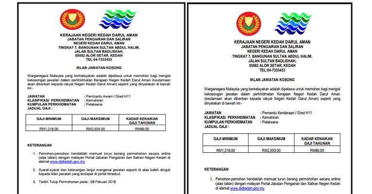 Jawatan Kosong di Jabatan Pengairan Dan Saliran Negeri Kedah