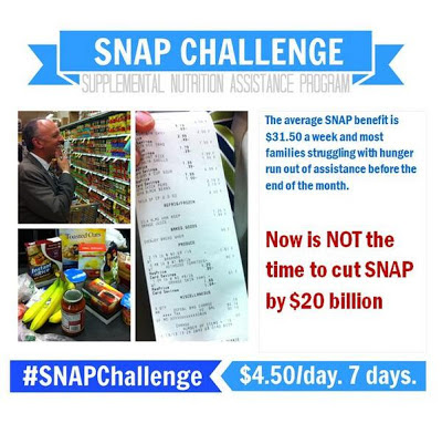 Promotional image: #SNAPChallenge to protest cuts to Supplemental Nutrition Assistance Program