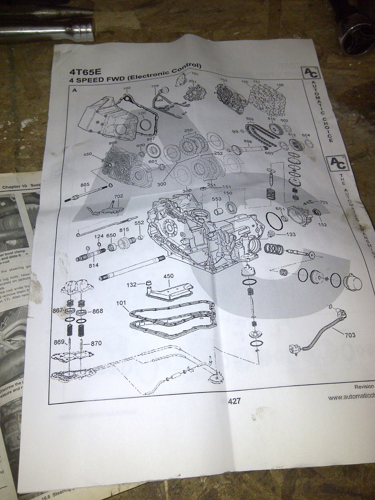 hight resolution of parts diagram of the transmission