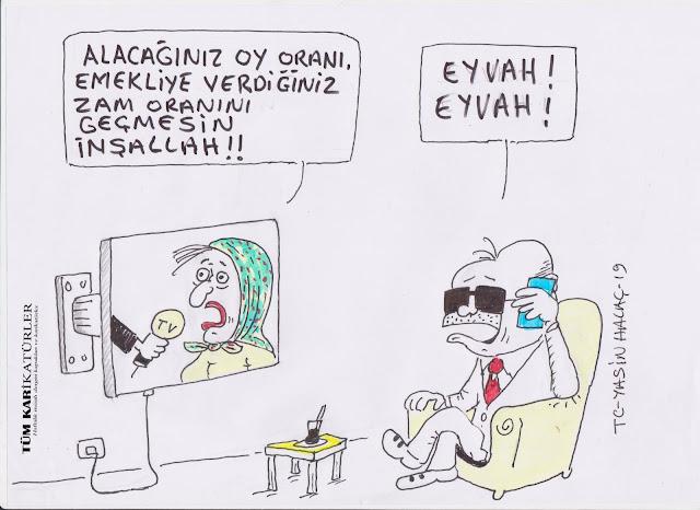 oy oranı emekli maaşı zammı karikatürü