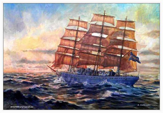 Cuadro pintado al oleo de la Fragata Libertad Armada Argentina