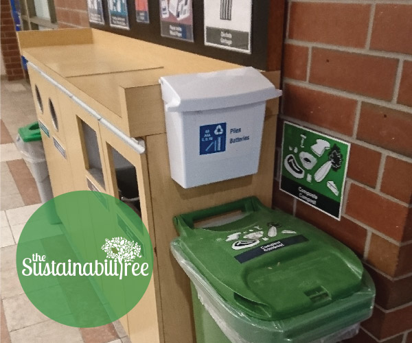 Recycling and compost bins at the University of Ottawa