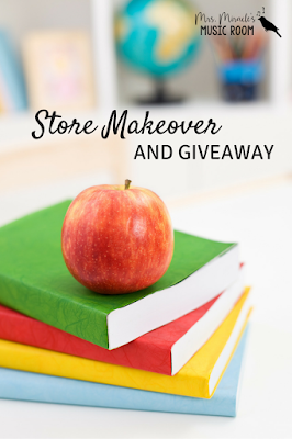 Store Makeover and Giveaway: Includes info about how to find revised products on TpT, and a giveaway of music education products!