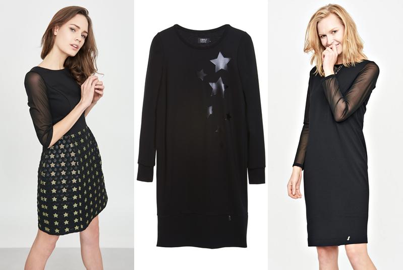38c65a920b Ostatnia propozycja to sukienka dla kobiet bardziej dojrzałych. Czarna  sukienka ma długie rękawy z siatki