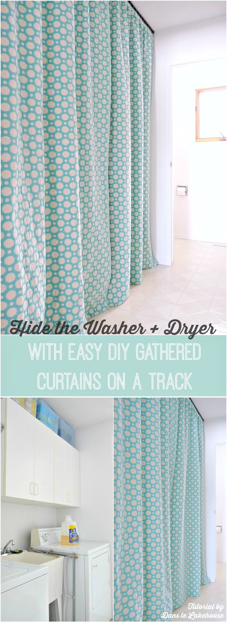 Hide a Washer and Dryer with Easy DIY Gathered Laundry Room Curtains ...
