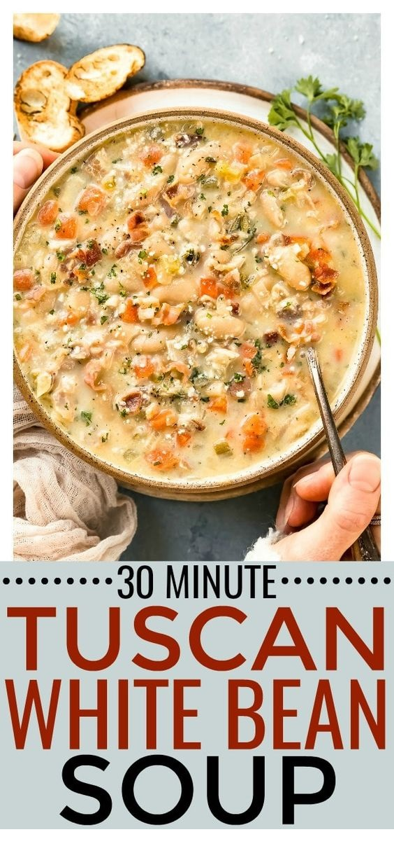 Tuscan White Bean Soup with Bacon