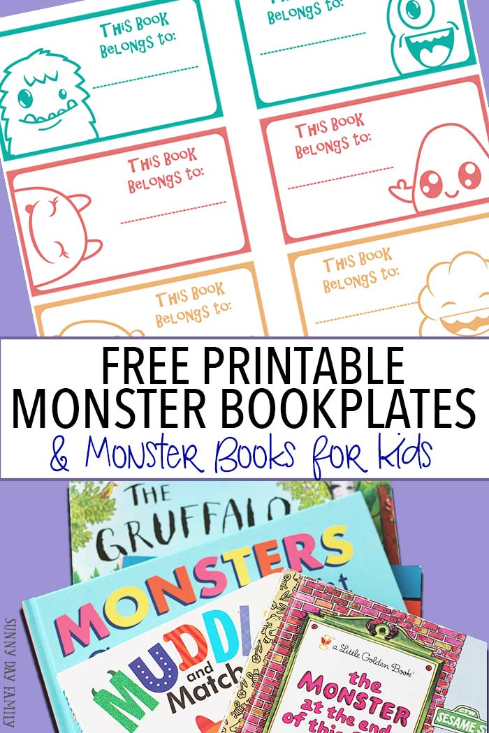free printable monster bookplates monster books for kids - Printable Books For Kids