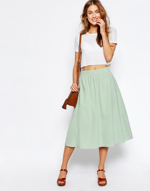 Spring/Summer Capsule Wardrobe: Five Bottoms for Work from Honey and Smoke Studio // Full Midi Skirt in Linen from ASOS