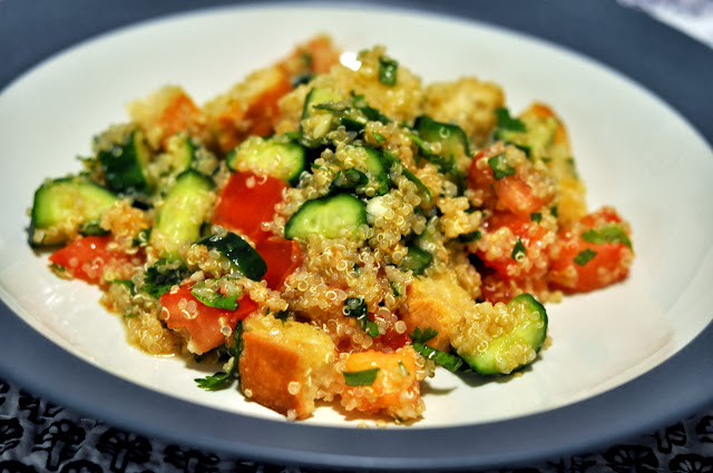 Quinoa Salad with Sourdough Croutons | Taste As You Go