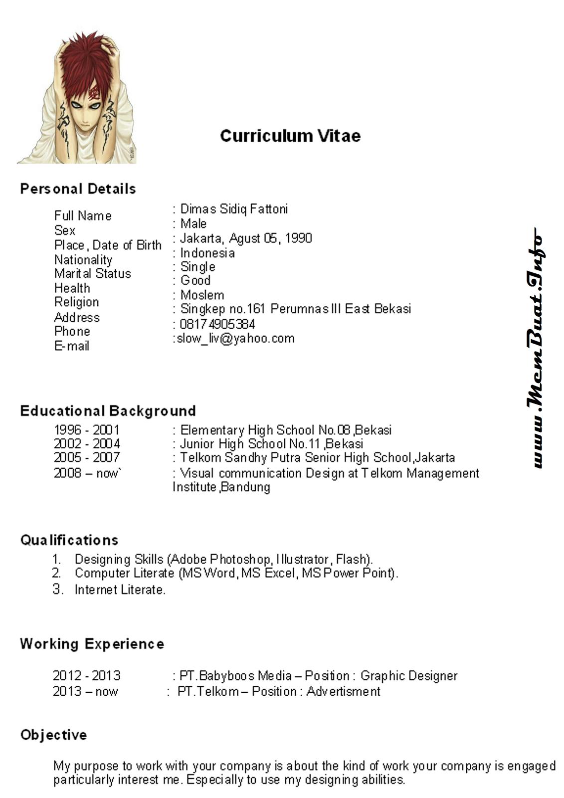 Curriculum Vitae Dalam Bahasa Inggris Terbaru