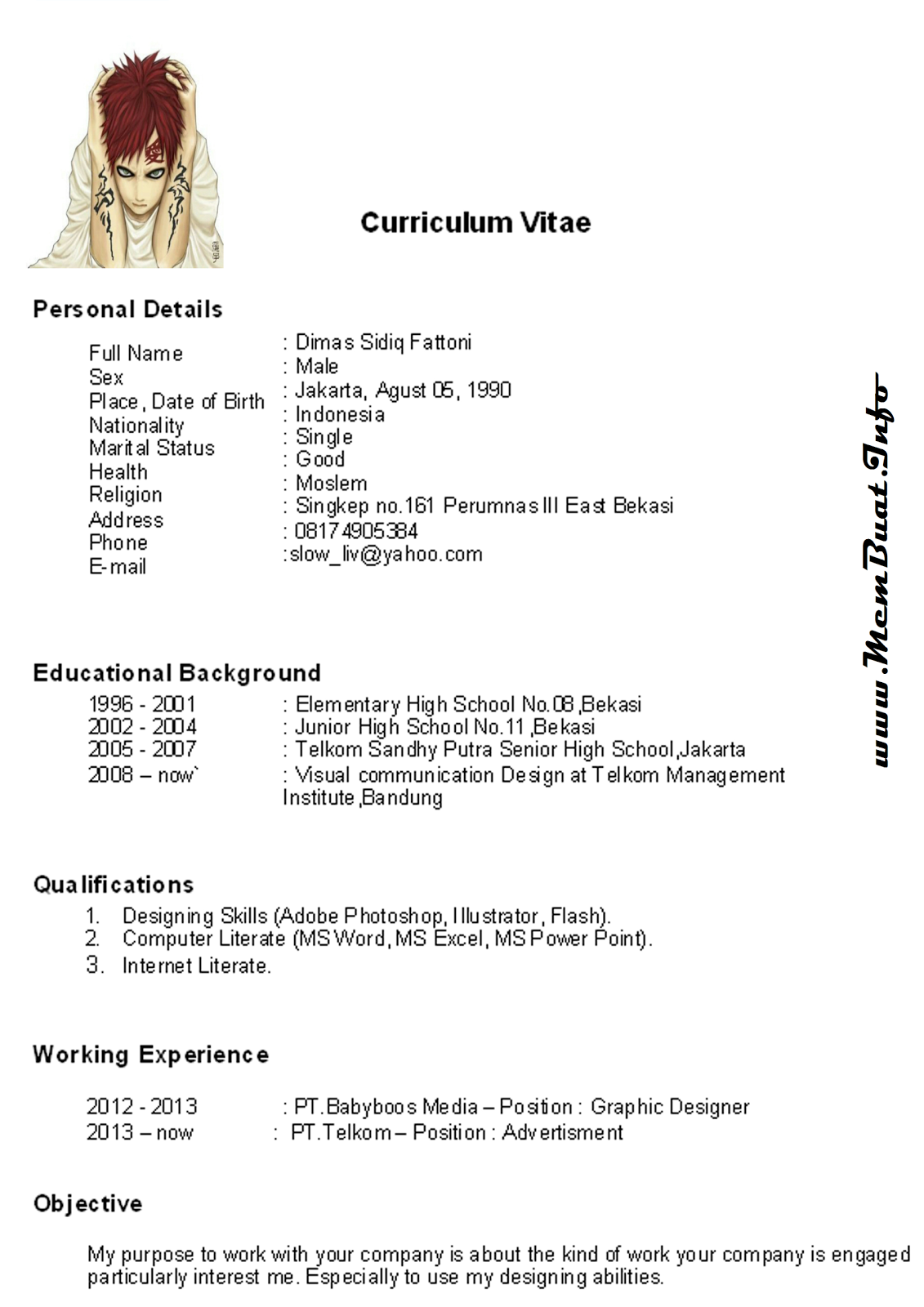 Curriculum Vitae Bahasa English Aush Digimerge Net