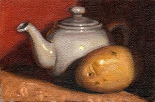 Oil painting of a white porcelain teapot beside a potato.
