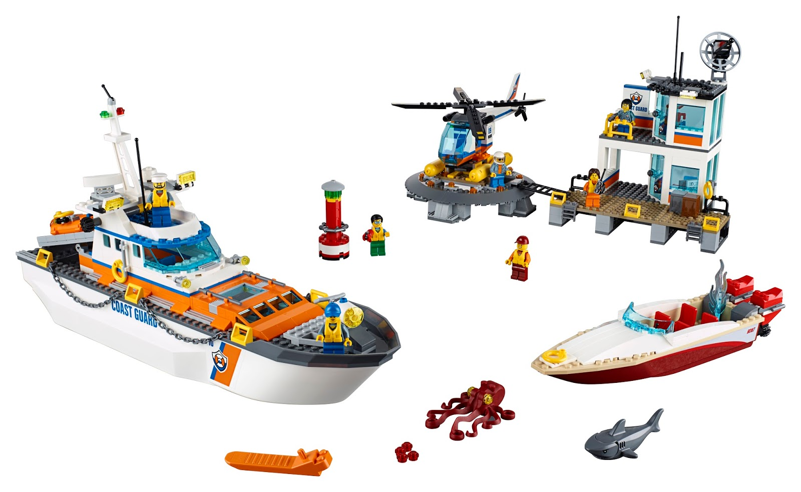 The Lego Coast Guard Headquarters set assembles including 2 boats, headquarters, helicopter , people and animals