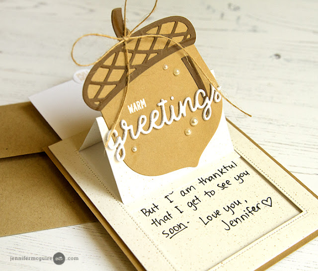 Sunny Studio Stamps: Nutty For You Acorn Sliding Window Pop-up Card by Jennifer McGuire