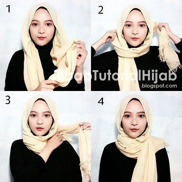 Tutorial Cara Memakai Hijab Pashmina 2016 tidak atau tanpa menggunakan jarum