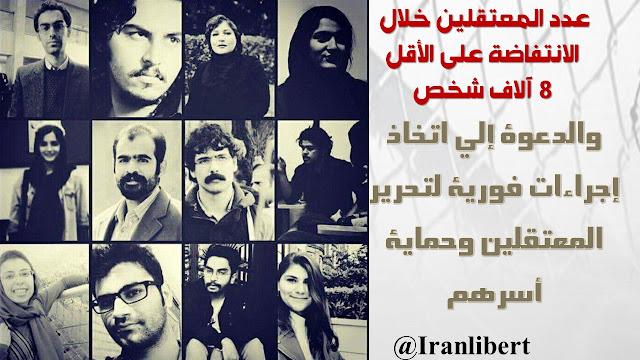 عدد المعتقلين خلال الانتفاضة على الأقل 8 آلاف شخص والدعوة إلى اتخاذ إجراءات فورية لتحرير المعتقلين وحماية أسرهم