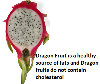 Dragon Fruit is a healthy source of fats and Dragon fruits do not contain cholesterol