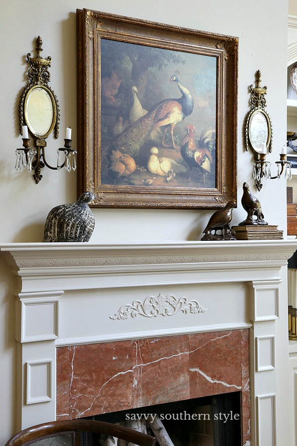 The Mantel Does Have A Bit Of An Elegant Feel To It With Use Old Ethan Allen Painting And Vintage Bronze Sconces Along My Birds That I