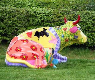 Colorful Cow Manniquin Statue