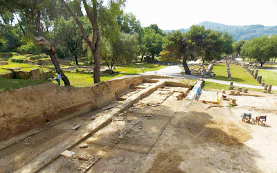 Eastern stoa of gymnasium at Olympia revealed
