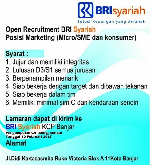 Rekrutmen Lowongan Bank BRI Syariah Februari 2017