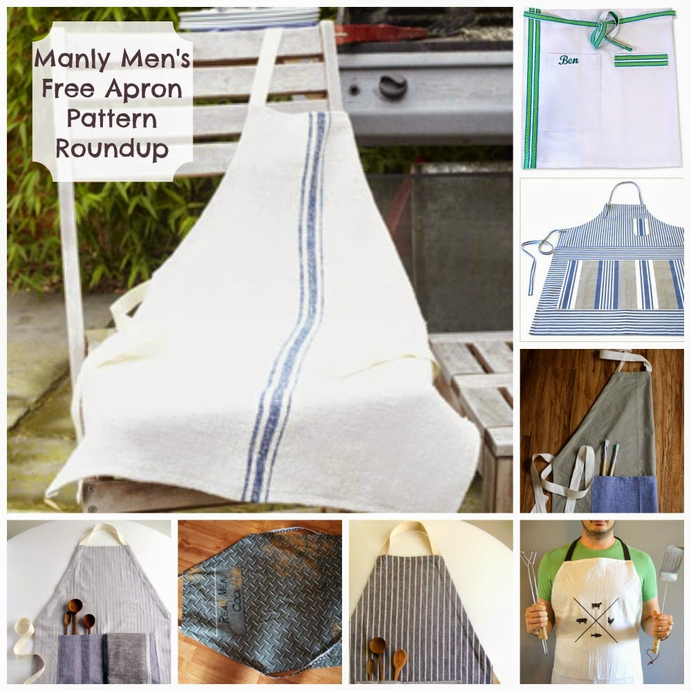Free Apron Patterns For Men Roundup | Becky Cooks Lightly #sewing