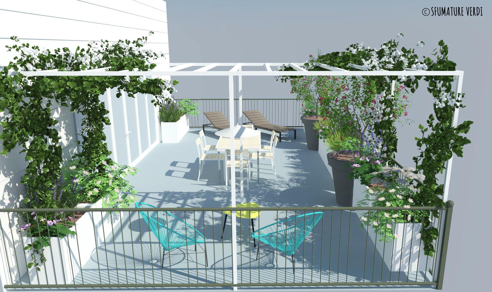 Terrazzo tra fiori e relax sfumature verdi for Fiori per balconi soleggiati