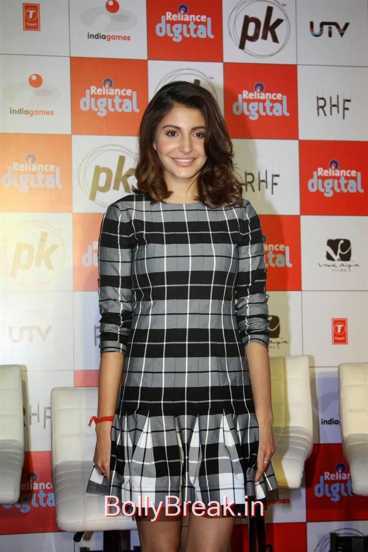 Bollywood Actress Anushka Sharma, Anushka Sharma Hot Pics In check dress from PK Mobile Game Launch