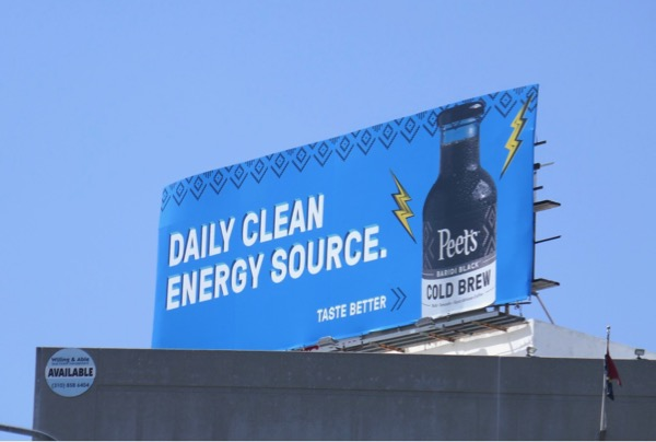 Peets Cold Brew Daily clean energy source billboard
