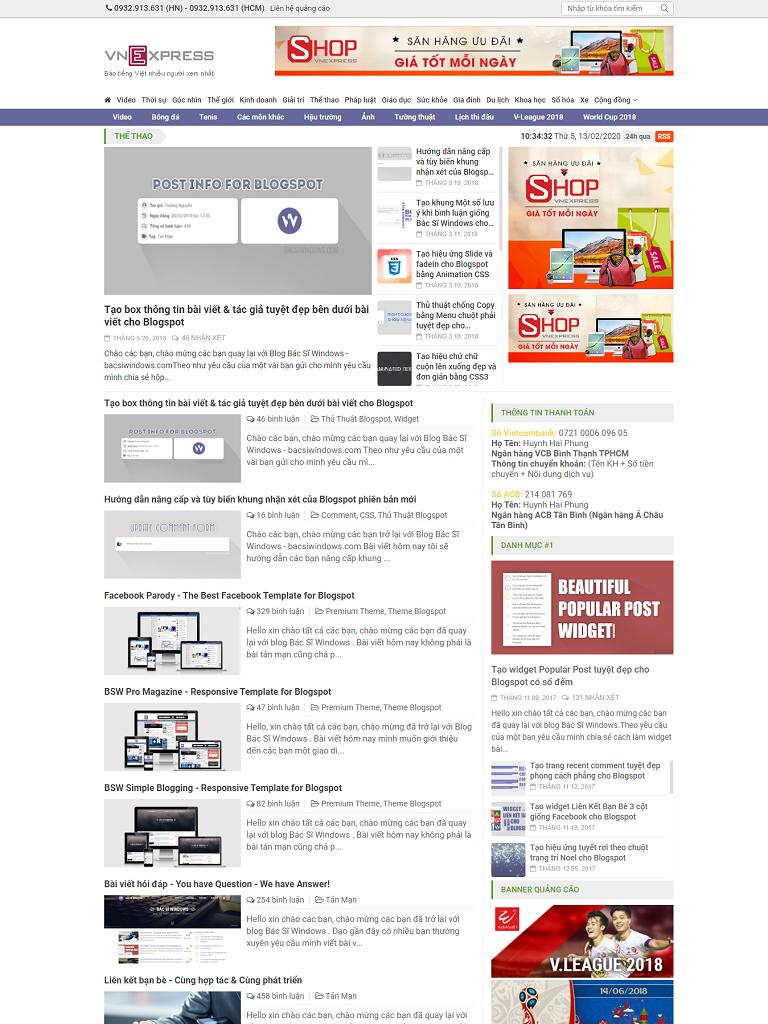 Theme blogspot VnExpress magazine 3.0 chuẩn seo - Ảnh 1