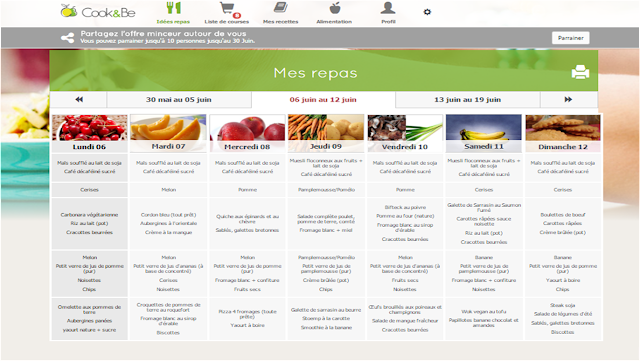 Cook & Be - exemple de planning