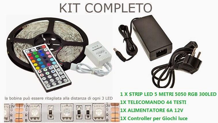 Kit Strip Led Rgb Smd 5050 Multicolore Da Esterno Con