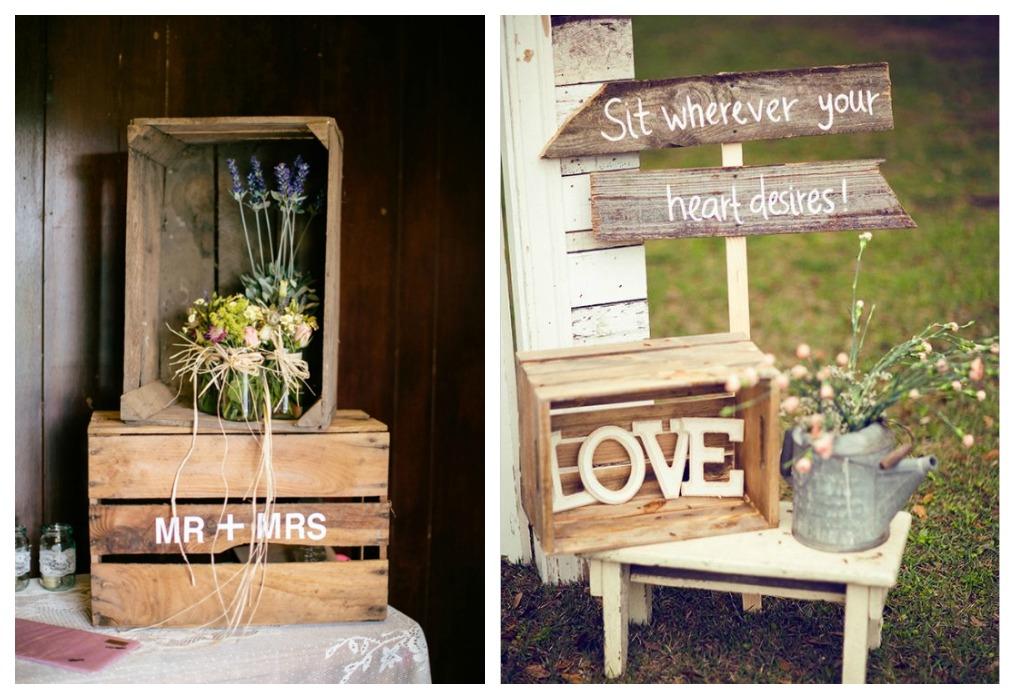 Crea vintage decorar con cajas de madera antiguas for Mesa con cajas de fruta