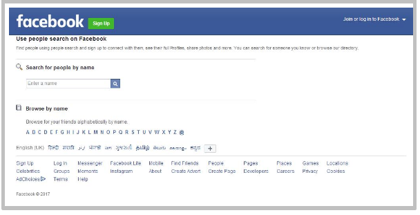 Search facebook without signing in
