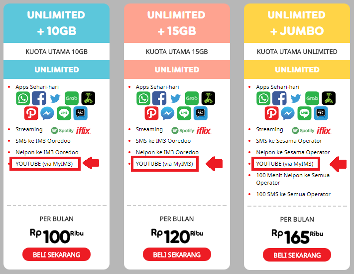 paket indosat im3 ooredoo unlimited youtube