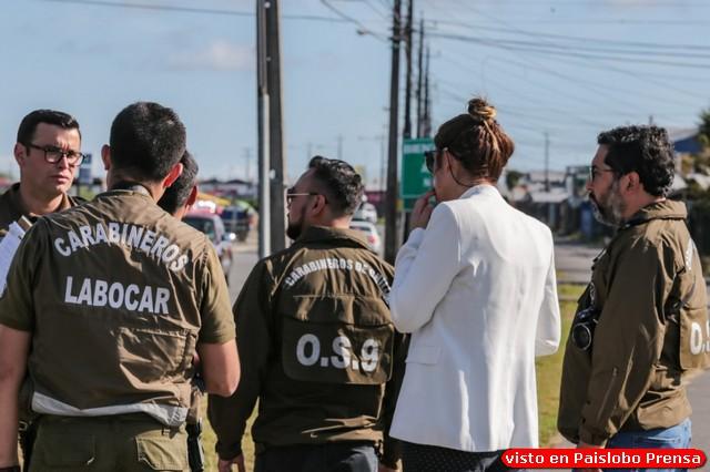 Reconstitución de escena tras homicidio ocurrido en el sector de Alerce