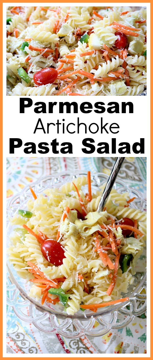 Parmesan Artichoke Pasta Salad- This Parmesan artichoke pasta salad is an easy lunch, dinner, or side dish! It's easy to make a lot for a big crowd, so it's perfect for summer BBQs! | vegetarian, veggies, carrots, tomatoes, quick, easy recipe