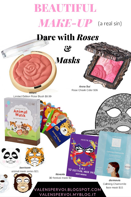The most beautiful make-up products: 3D pans and creative packaging. Rose-shaped blushes and colourful sheet masks
