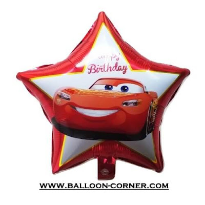 Balon Foil HAPPY BIRTHDAY Bintang Cars