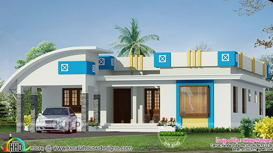 Arch type single floor budget friendly Kerala home design