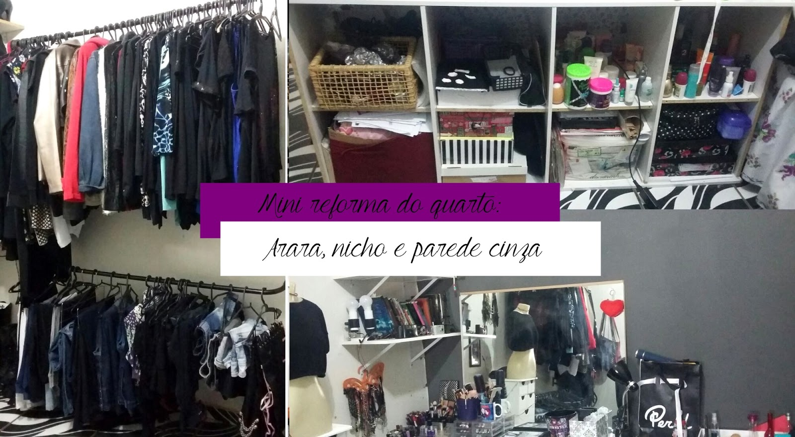Mini reforma no quarto: Temos arara de roupa, parede cinza e nicho