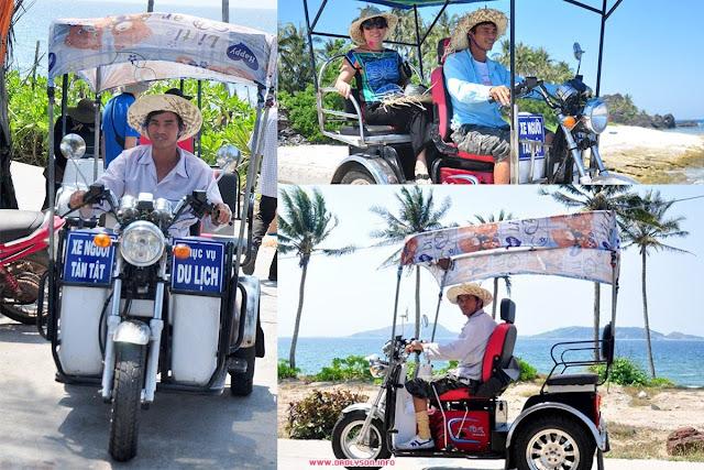 Thú vị với xe ba gác tại đảo Bé