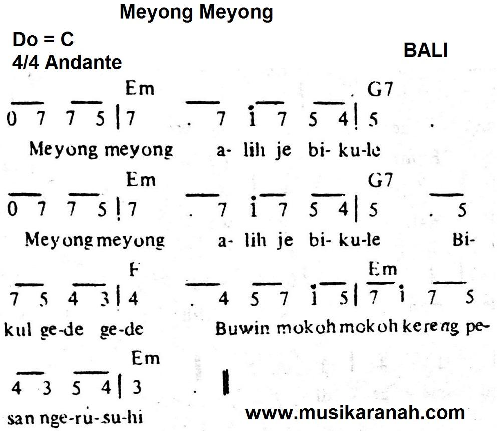 Not Bali Meyong Meyong Lirik Lagu