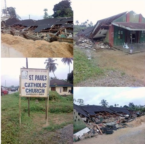 Many Trapped As Catholic Church Collapses In Delta (Photos)
