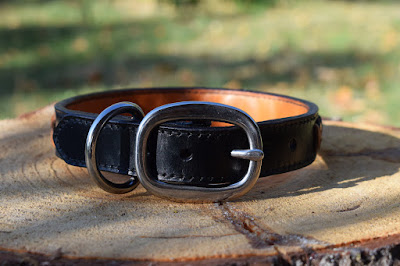 Custom laced leather collar handmade in Italy many colors available